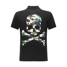 Hommes Polo à manches courtes haute qualité coton rue décontracté hommes hauts 3D strass crâne imprimer Plein Polo chemise Streetwear