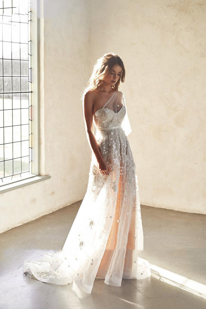 Beach Wedding Dresses A Line One Shoulder Sexy Lace 3D Flowers Wedding Gowns Vestidos De Novia Boho Bride Dresses