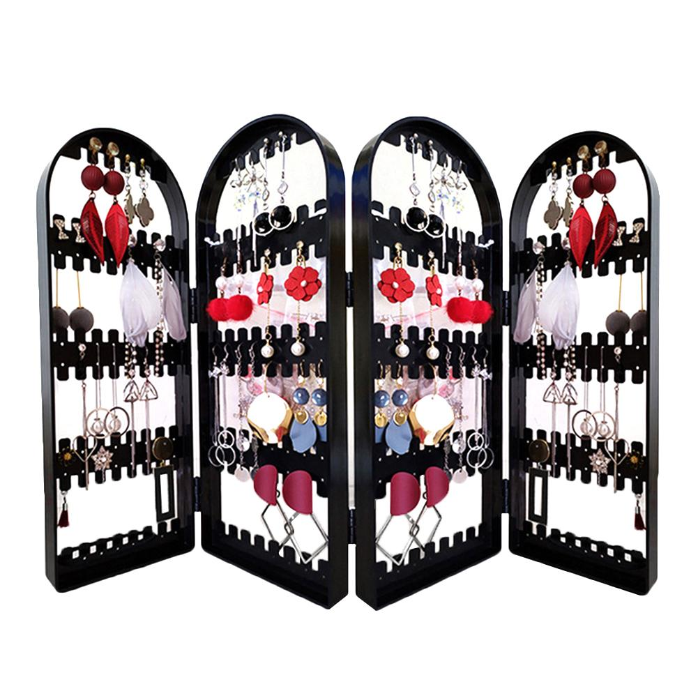 2/3/4 Fans Panels Folding Earrings Studs Rack Shelf Screen Display Stand Holder Jewelry Stand Earrings Necklaces Organizer Displ