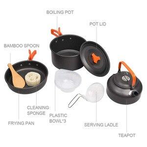 Image 4 - Vilead pote de acampamento portátil pan chaleira conjunto liga alumínio utensílios de mesa ao ar livre panelas 3 pçs/set bule cozinhar ferramenta para piquenique churrasco