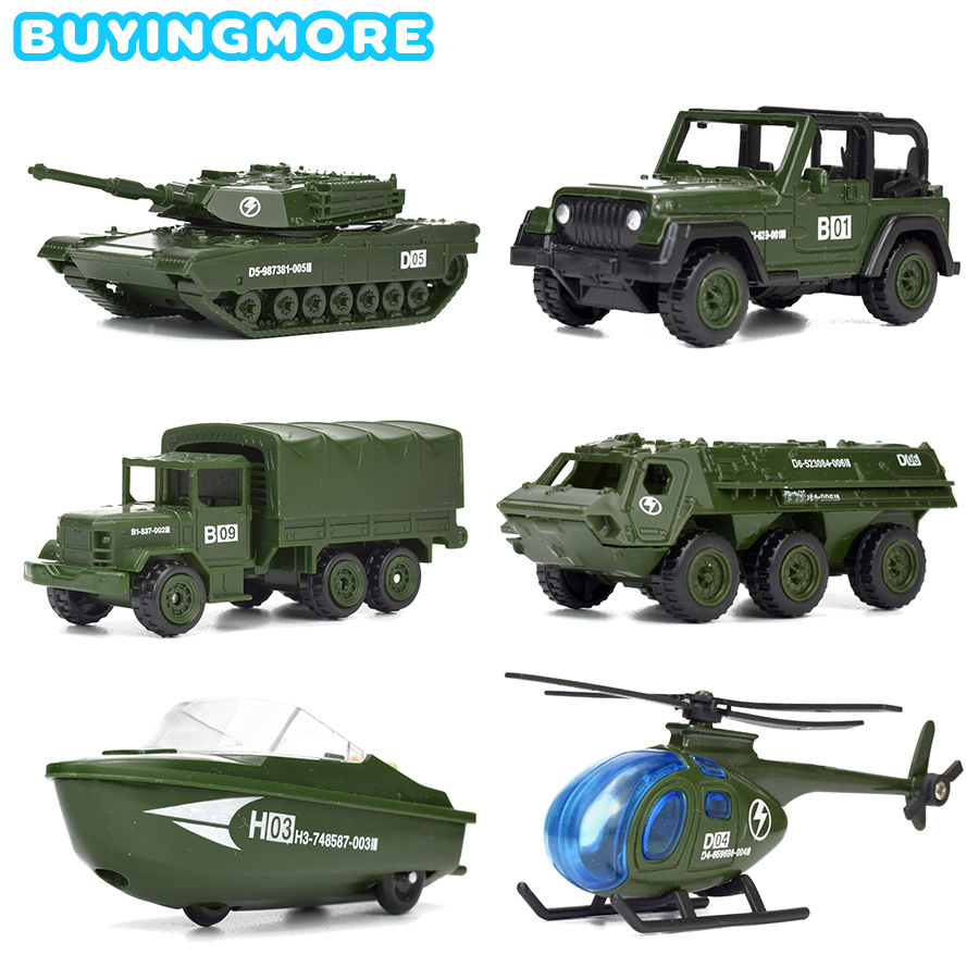 6 Kinds Mini Military Vehicles Alloy Diecast Car Toys For Children Army Tank Model Helicopter Plastic Gliding Car Boys Toys Gift