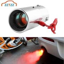 1 Uds tubo de escape LED Universal para coche luz roja Punta de silenciador con llama Ajuste de acero inoxidable tubo de escape trasero para coche modificado