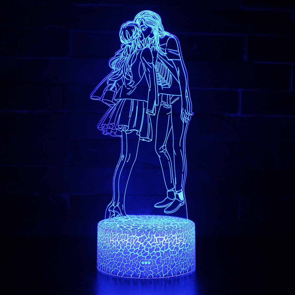 Valentine's Day Series 3D Stereo Vision Lamp Acrylic 7 Colors Changing USB Bedroom Bedside Night Light Desk Lamp Best Gifts