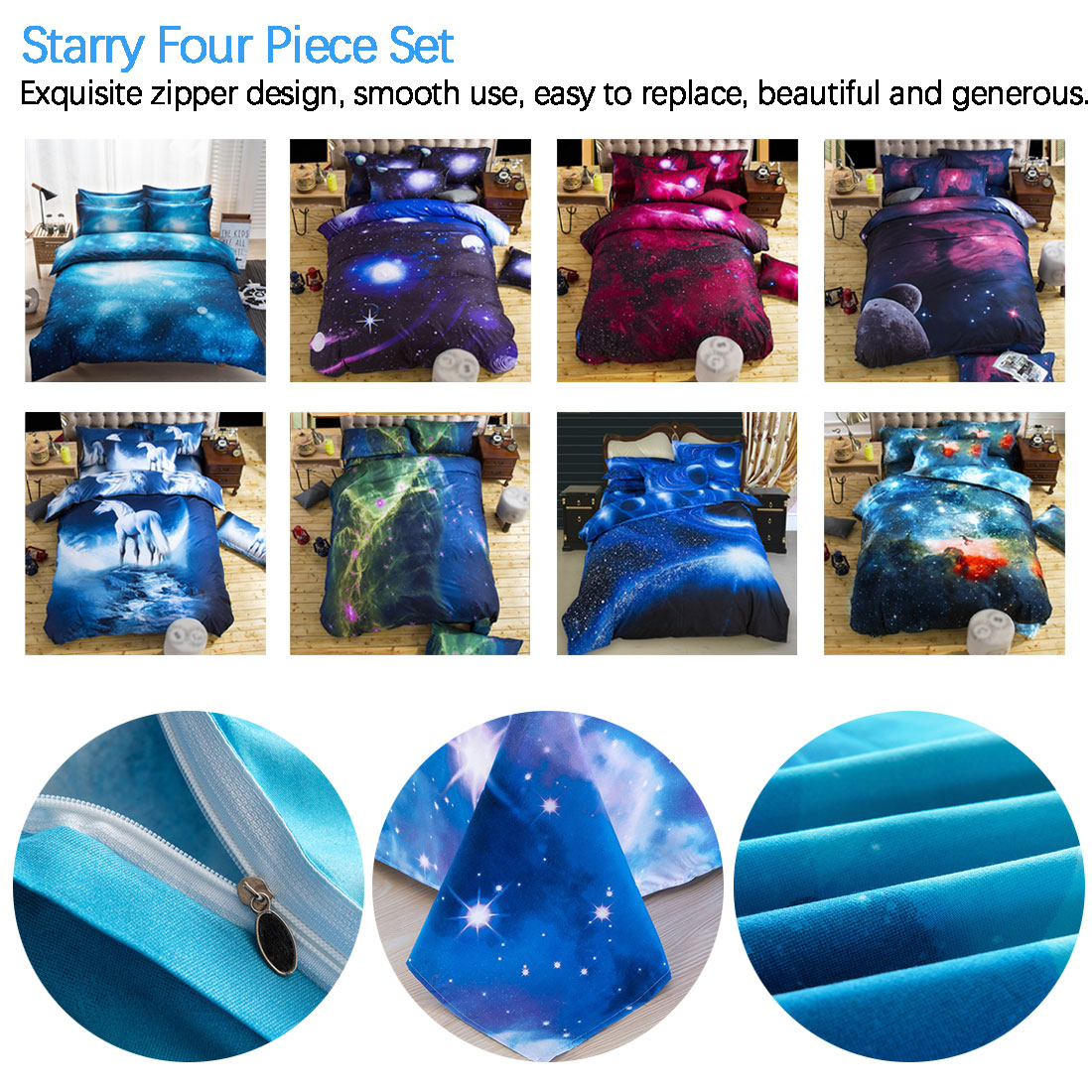 Hot Sale Home Textiles Starry Four piece Quilt Cover 3D Galaxy Bedding Luxury Soft Stylish Home Decor Bedding|Bedspread| |  - title=