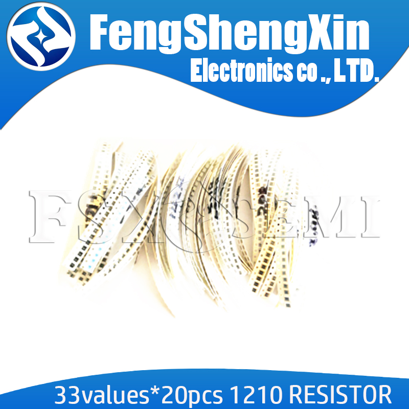 33valuesX 20pcs=660pcs <font><b>1210</b></font> <font><b>SMD</b></font> <font><b>Resistor</b></font> Kit Assorted Kit 1ohm-1M ohm 5% DIY Kit image