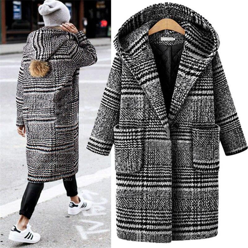 XL-5XL nouveau automne hiver laine Trench mélange décontracté noir blanc Plaid manteau épaisseur chaud bouton poche vestes