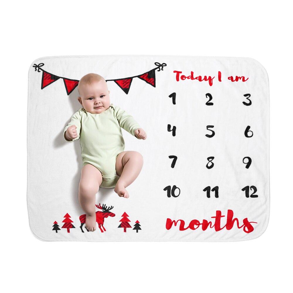 19 стильных детских ежемесячных одеял для девочек и мальчиков с цветочными крыльями, рамка для новорожденных, фон для фотосессии, фланелевый Рождественский олень - Цвет: Type 18