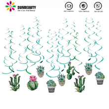 30pcs Summer Hawaiian Party Decoration Tropical Flowers Cactus  Hanging Swirls Paper Decor For Luau Birthday Party Supplies 12pc summer party decorations sunflower pom poms hanging swirls paper fans tropical hawaiian luau sunshine birthday shower