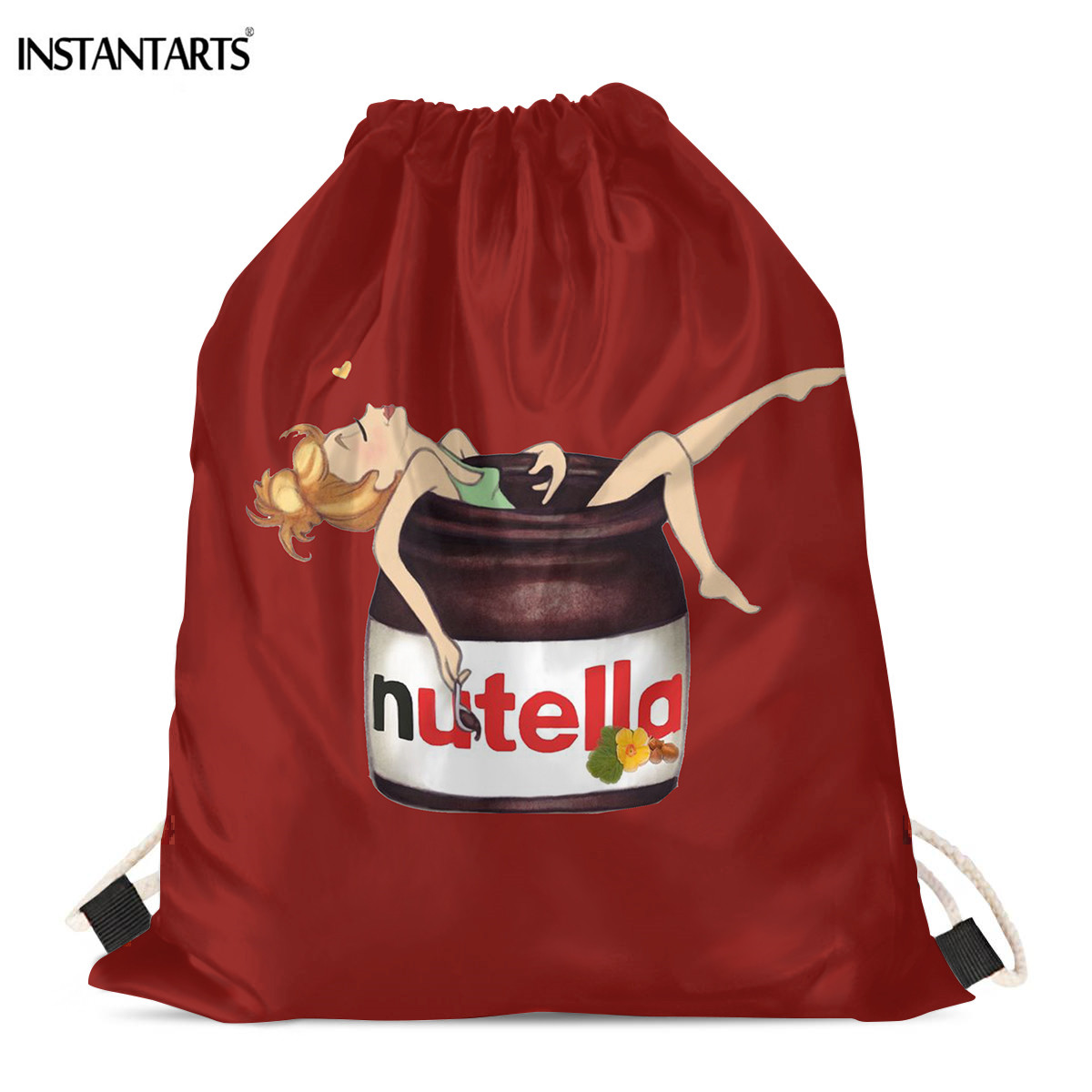 INSTANTARTS Cute Foods Nutella Lady Print Shopping Bags For Women Casual Drawstrings Bag Girls Beach Storage Backpack Gymsack