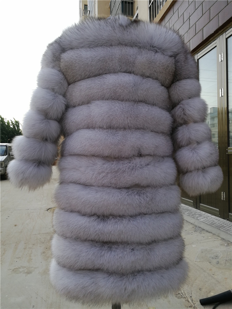 100% Natural Real Fox Fur Coat Women Winter Genuine Vest Waistcoat Thick Warm Long Jacket With Sleeve Outwear Overcoat plus size 49