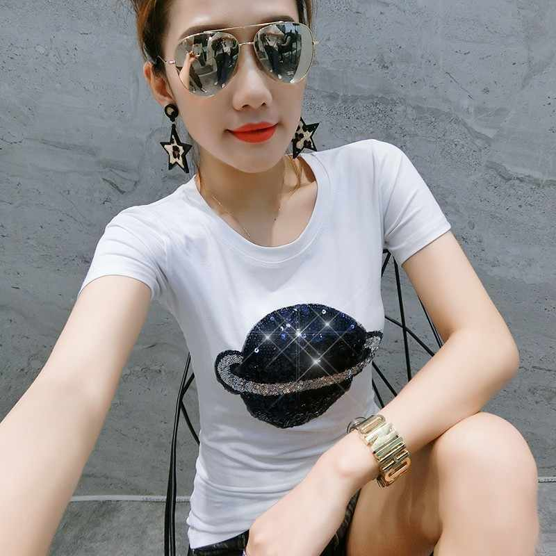 Fashion Baru Musim Panas Wanita Planet Payet Atas Tee Pullover Leher O Lengan Pendek Slim Fit Plus Ukuran Wanita T-shirt Streetwear
