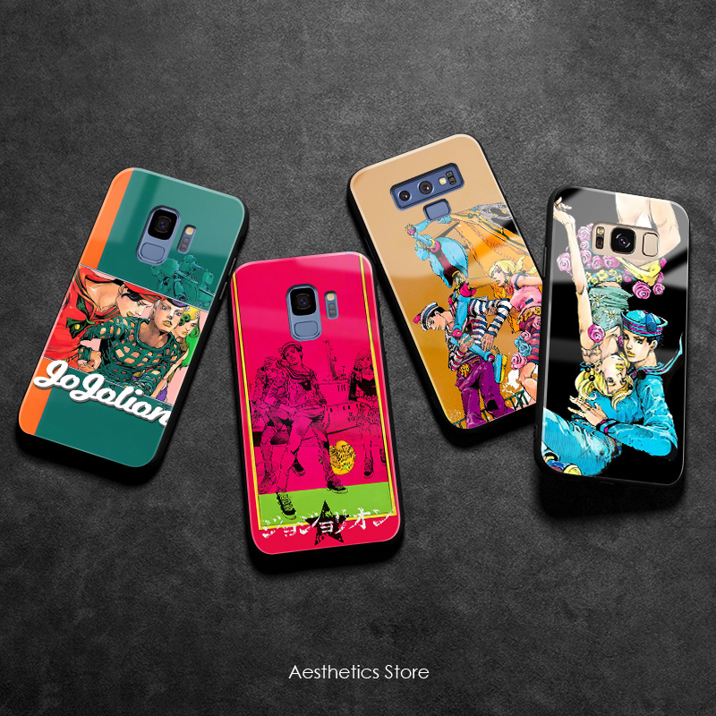 JOJO Part 8 JoJolion Soft Silicone tempered smooth Glass Phone Case Shell For Samsung Galaxy S8 S9 S10e S10 Note 8 9 10 Plus image