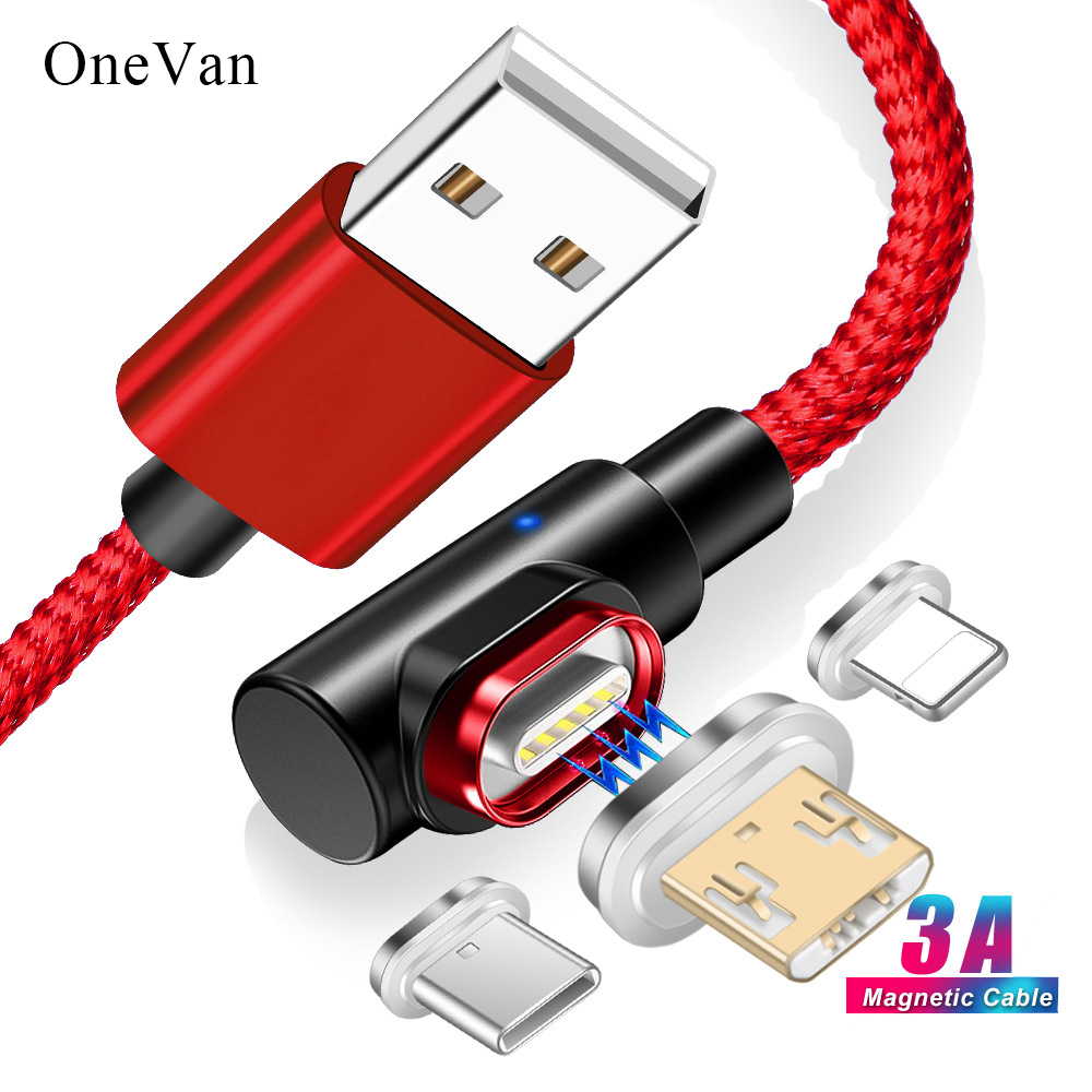 OneVan Magnetic Charger 5V 3A 90 Degree Usb Fast Charging Cable Micro Usb Type C Cord For Charging iPhone 7 Xiaomi Samsung Phone|Mobile Phone Cables| |  - AliExpress