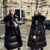 High end Women Oversized Down Jacket Plus Size For 78KG Fat Girl Genuine Fur Collar Hooded Parka 2019 Winter Feminine Thick Coat