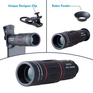 Image 4 - APEXEL 18X 망원경 줌 아이폰에 대한 휴대 전화 렌즈 삼성 스마트 폰 범용 클립 단안 카메라 렌즈