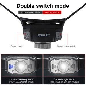 Image 3 - BORUiT B33 LED Motion IR Sensor Mini Headlamp XP G2+2*3030 Red Light 5 Mode Zoom Headlight Rechargeable Head Torch Hunting Light