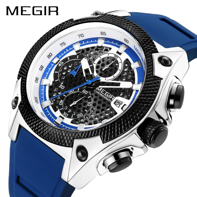 MEGIR Men Sport Watch Relogio Masculino Blue Silicone Strap Mens Watches Top Brand Luxury Luminous Waterproof Quartz Watch Man