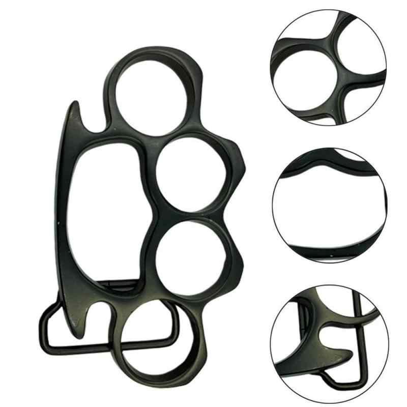 1 Pc Black Fashion Roman Riem Gesp Gothic Rvs Streetwear Stijl Knuckle Kostuum Metalen Fashion Mens Accessoire