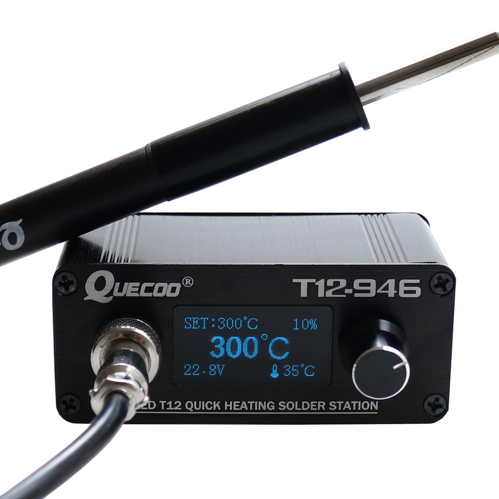 New STC T12 946 Mini soldering station 1.3inch electronic Digital controller with P9 plastic handle and iron tips welding tools Electric Soldering Irons     - title=