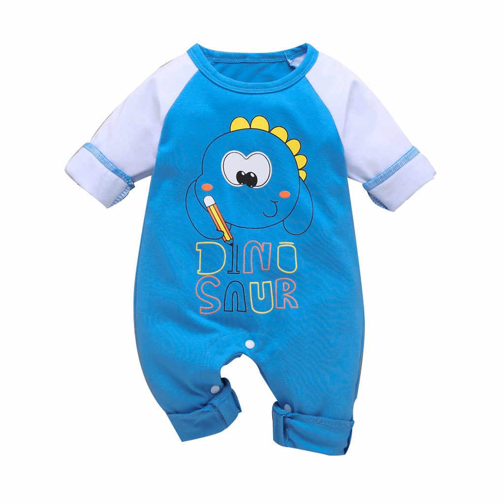Musim Dingin Baru Lahir Bayi Anak Laki-laki Anak Perempuan Kartun Hewan Dinosaurus Jumpsuit Baju Monyet Pakaian Lengan Panjang Bayi Bayi Romper Bayi Laki-laki