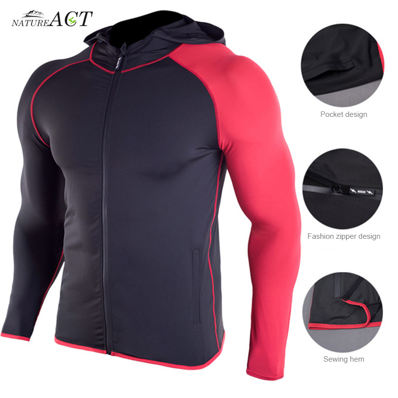 Men's Compression Hooded Jackets Long Sleeves Quick Dry Breathable Zipper Running Fitness Jackets Fitness Gym Sports Clothing