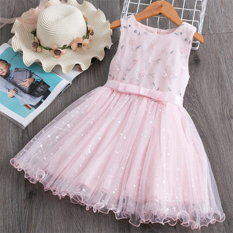 2020 Summer Sleeveless Dress For Girls 3-8 Years Birthday Princess Dress Baby Kids Party Clothing Toddler Girls Casual Clothes
