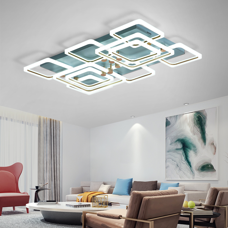 Modern Led Chandelier For Bedroom Study Room Living Room Blue+Gold Color Home Deco Ceiling Chandelier Fixtures 90-260V