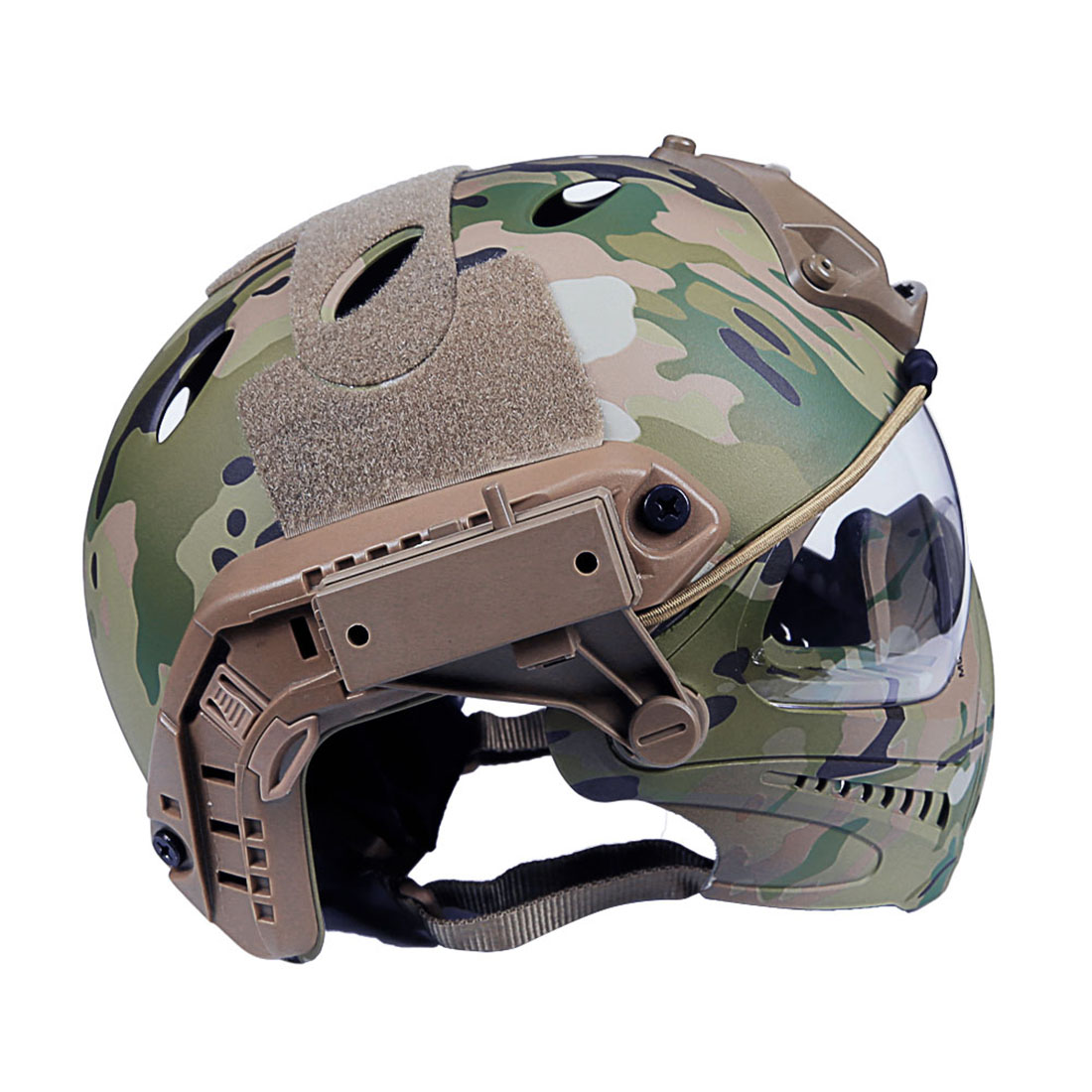 WST Navigator MH Update Version Fast Tactical Helmet With Foldable Half-face Mesh Mask And Goggles For CS Game Set