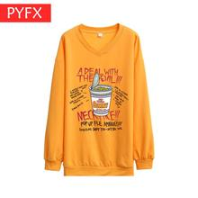 Autumn New Korean Edition Lovely Cartoon Printed Yellow Cotton fashion Womens Loose big yards Sweatshirt High-grade cotton