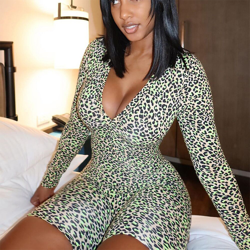 OMSJ 2020 New Fashion Leopard Print Fitness Workout Biker Playsuits V-neck Long Sleeve Skinny Jumpsuit Women Sexy Party Clubwear