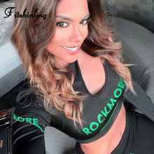 Fitshinling Cut Out Fitness Women T Shirt 2019 Autumn Letter Print Black Crop Top Female T-Shirt Sexy Fashion Tops Tees