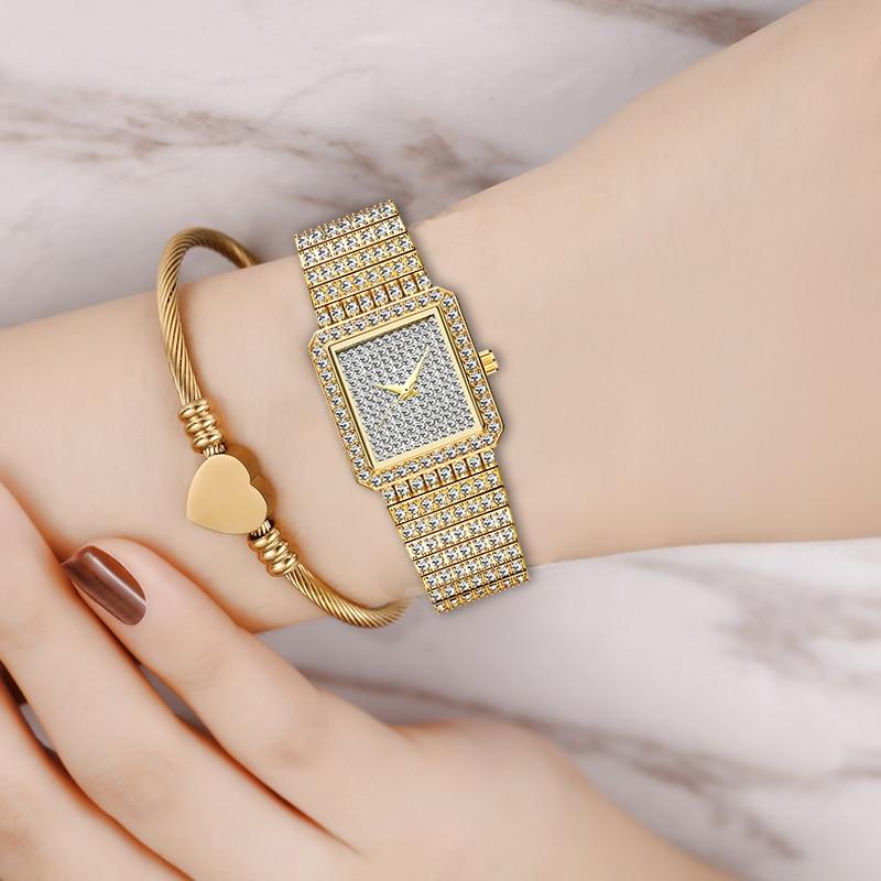 MISSFOX Diamond Watch For Women Luxury Brand Ladies Gold Square Watch Minimalist Analog Quartz Movt Unique Female Iced Out Watch 6
