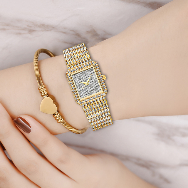 Diamond Watch For Women Luxury Brand Ladies Gold Square Watch Minimalist Analog Quartz Movt Unique Female Iced Out Watch 6