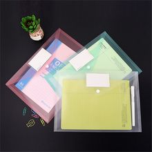 2pcs Transparent Colorful A4 File Folder Button Closure Folder Bag Office Plastic Document Organizer Storage Bag for Paper