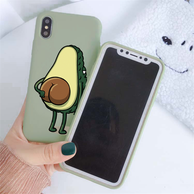 Green Matte Avocado Phone Case For iPhone XR X XS Max 5 5S SE 2020 7 8 6 6S Plus Silicon TPU Cover For iPhone 11 12 Pro Max Case 2