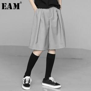 [EAM] High Elastic Waist Gray Brief Wide Leg Knee Length Trousers New Loose Fit Pants Women Fashion Spring Summer 2020 1U680