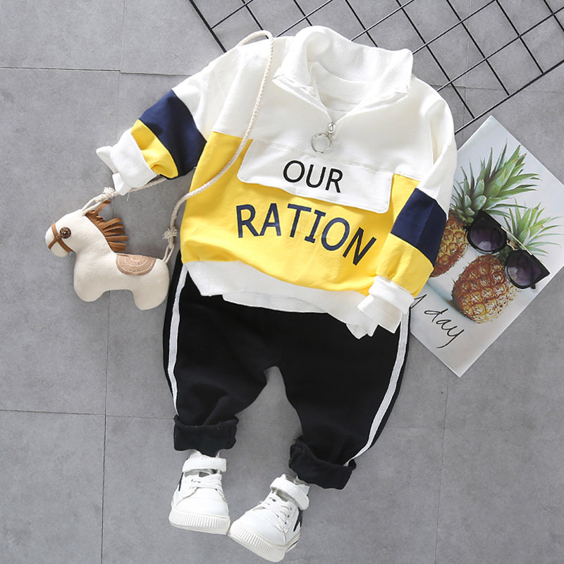 Fashion Baby Boys Autumn Winter Set Kids Hooded Coats Pants 2pcs Outfit Children Letter Splicing Suit Infant Casual Clothes 3