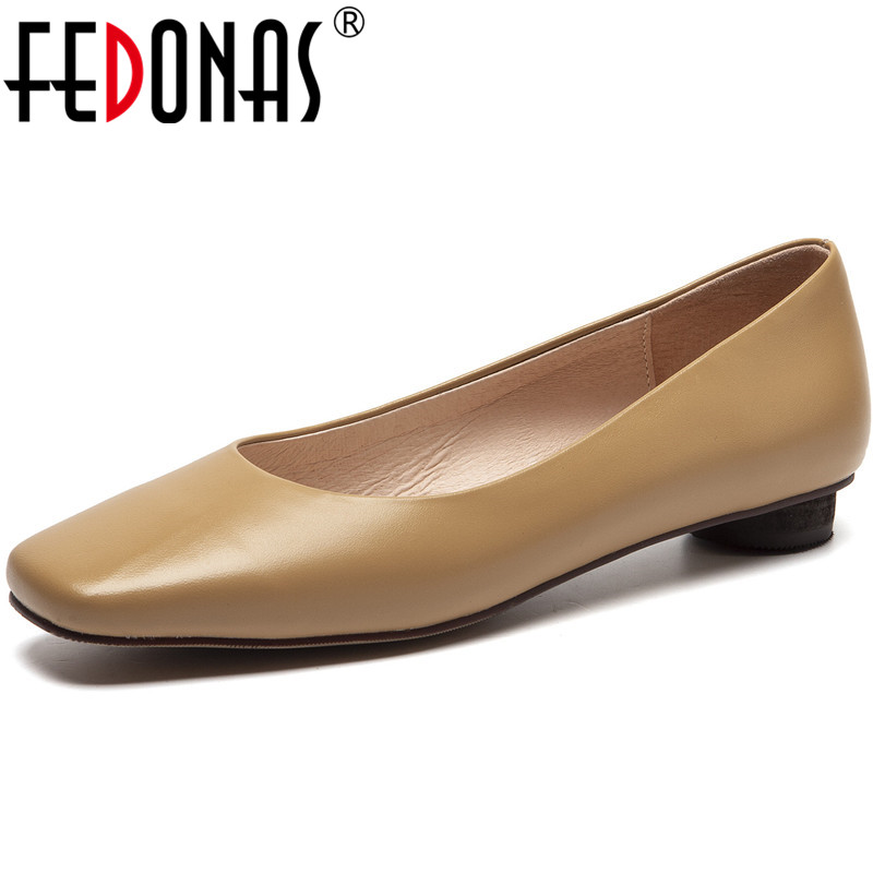 FEDONAS New Women Square Heels Basic Prom Pumps Spring Summer Round Toe Concise Shoes Genuine Leather Fashion Shoes Woman