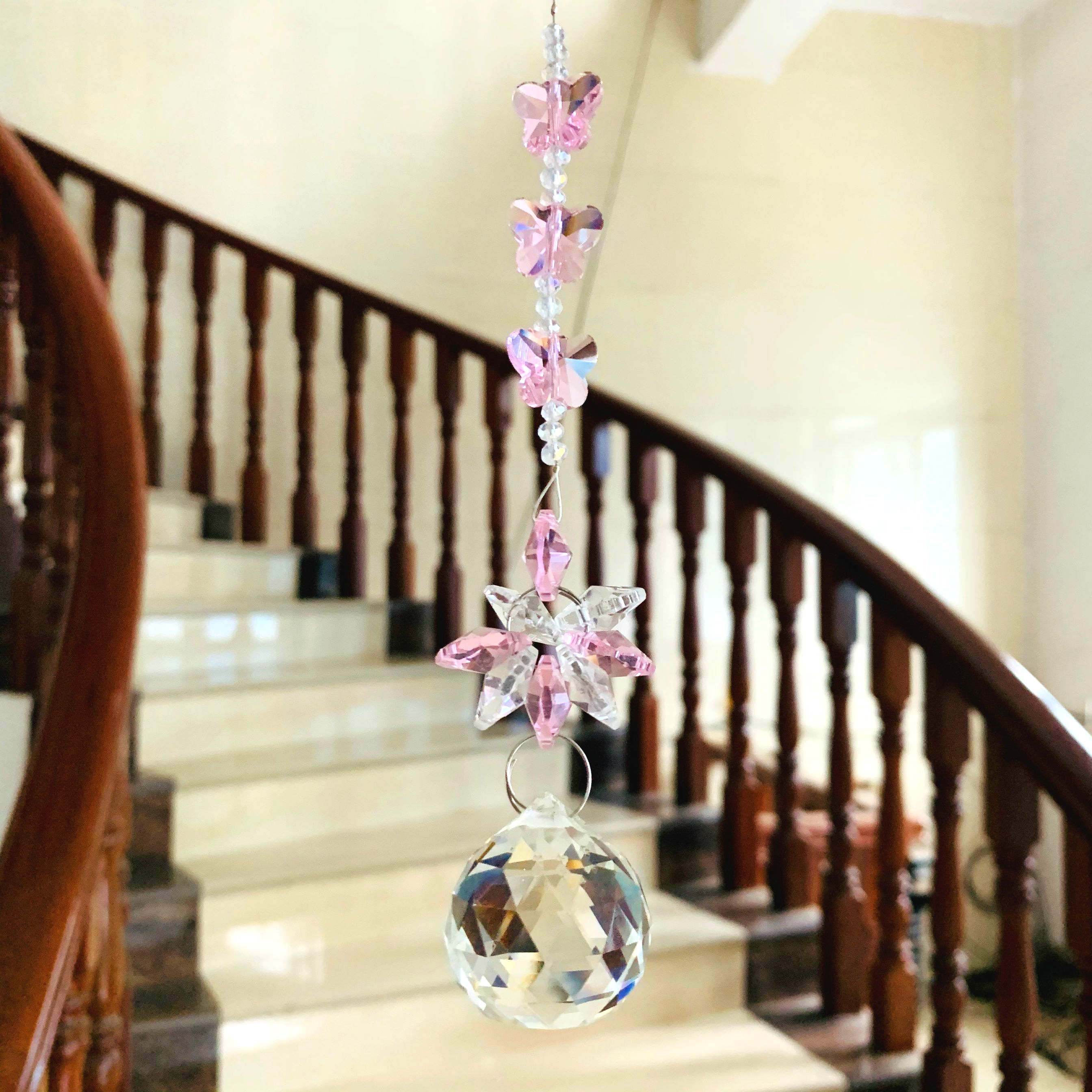 Garland Pink Crystal Diy Chandelier Crystals Glass Suncatcher Crystal Prisms Pendant For Home Decor Christmas Tree Hanging Drops Chandelier Crystal Aliexpress