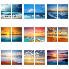 2pcs 5D Diamond Painting Beach Sunset Full Square Embroidery Sea Wave Mosaic Pictures Of Rhinestones Home Decor