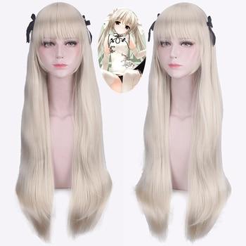 цена на Yosuga No Sora in Solitude Sora Kasugano Cosplay Wigs 100cm Long Straight Synthetic Hair Halloween Party Costume Wig Perucas