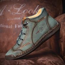 Botines Vintage Qulaity para hombre, zapatillas de deporte de cuero de división retro, zapatos de costura a mano completa de talla grande 38-48, botas para hombre de media altura