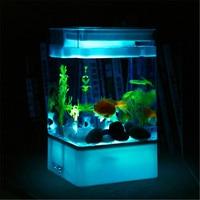 Acrylic goldfish fish tank aquarium mini desktop imitation glass fish bowl with LED aquarium accessories