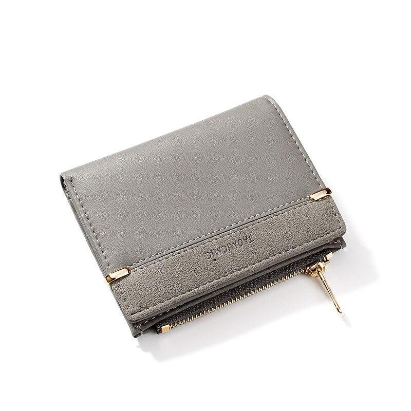 Женские кошельки, кожаный женский кошелек, мини-кошелек на застежке, Одноцветный держатель для нескольких карт, модные короткие кошельки для монет, тонкий маленький кошелек на застежке-молнии - Цвет: Gray