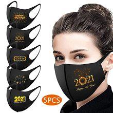 Mascarilla facial reutilizable para adultos, lavable, contra la contaminación, 5 uds., 2021