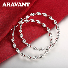 2019 New Arrival 925 Jewelry Silver Plated 45MM Twist Round Circle Hoop Earring Women Fashion Big