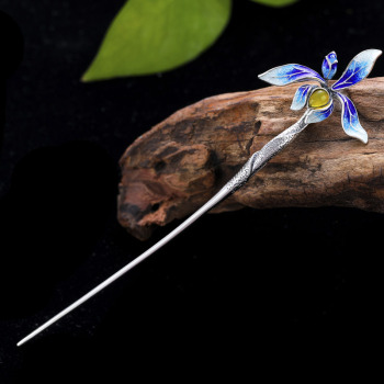 925 Sterling Silver Orchid Flower Hair Stick Cloisonne Enamel Luxury Jewelry Blue Hair Pin Chinese Vintage Handmade Hairpins
