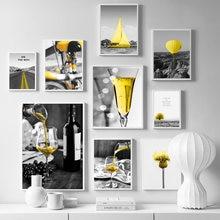Абстрактная черно желтая Картина на холсте современный Кубок