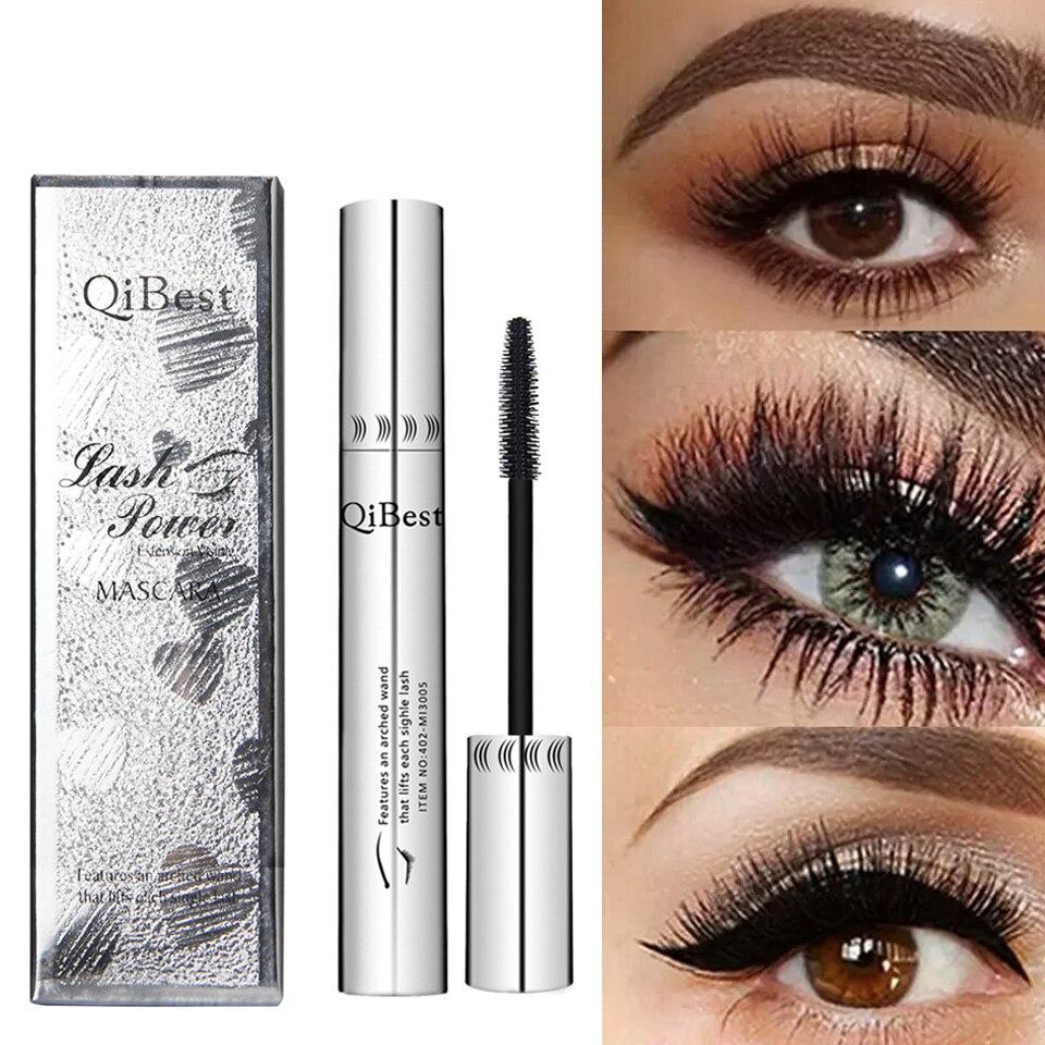 Qibest 4D Black Waterproof Mascara Long Lasting Mascara Professional Makeup Fluffy Volume Cosmetics Curling Eyelash Eyelashes