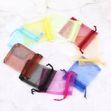 10 pcs/lot Drawable Small Organza Bags Favor Wedding Christmas Gift Bag Jewelry Packaging Bags & Pouches 7x9cm(China)